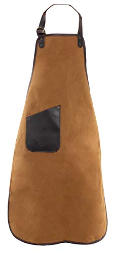 Lederschürze Grillschürze Vintage Khaki Canvas Leder