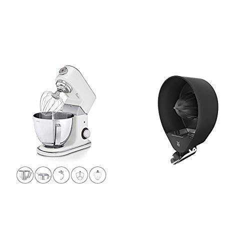 WMF Profi Plus Küchenmaschine mit 5l-Schüssel, Softanlauf, 8-stufige Knetmaschine, 3 Rührwerkzeuge, 1000W, Metal White & Profi Plus Zitruspresse elektrisch mit Edelstahl-Siebeinsatz, 2 Presskegel