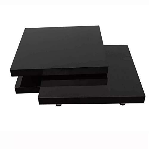 EBTOOLS - Tavolino da salotto per caffè, quadrato, in stile elegante, facile da pulire, superficie estensibile in MDF + cromato laccato nero, 80 x 80-134 x 30,5 cm