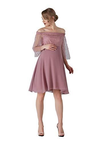 M.M.C. Altrosa Umstands-Kleid mit Tüll und Perlen - Schulterfreies Schwangerschaftskleid Schwangerschaft Abendkleid Cocktailkleid Partykleid für Hochzeit Standesamt - Knielang (Altrosa, 38)