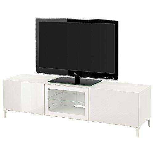 IKEA BESTA - TV-Bank mit Schubladen und Tür Weiß/selsviken Hochglanz/weiß Klarglas