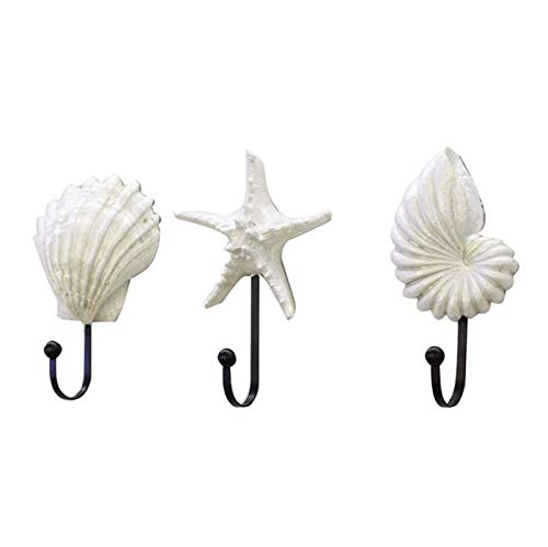 Zhenwo Haushalts Selbstklebende Hakentür Rückenhaken, 3-Teilig 3D Star Shell Conth Hängehaken Wandhalterung Dekorativer Garderobenständer,Weiß