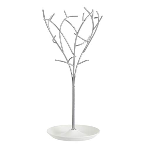 Amazon Basics - Joyero de árbol, blanco/níquel