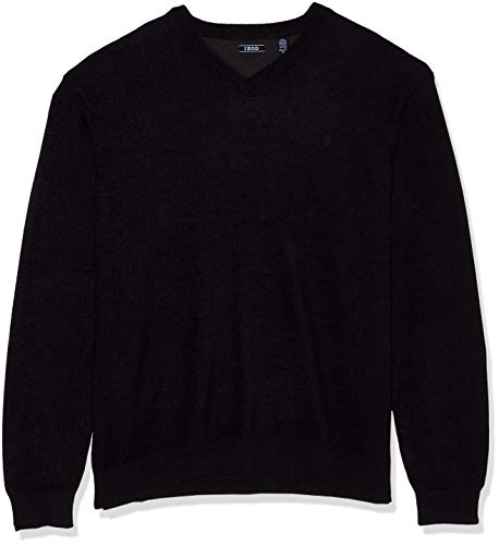IZOD Men's Tall Premium Essentials Solid V-Neck 12 Gauge Sweater, New Black, 3X-Large Big
