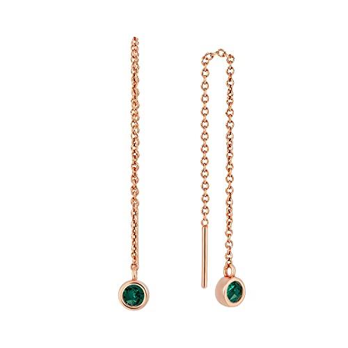 XAVIER - Pendientes de cadena travesantes dorados, Latón Chapado en oro. Cristal, Crystal malaquita Emerald,