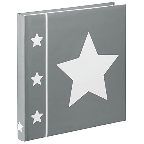 """Hama Fotoalbum """"Skies"""" (Jumbo Album mit 60 Seiten, für 240 Fotos im Format 10x15, Stern Motiv, 30x30) XL Fotobuch grau"""