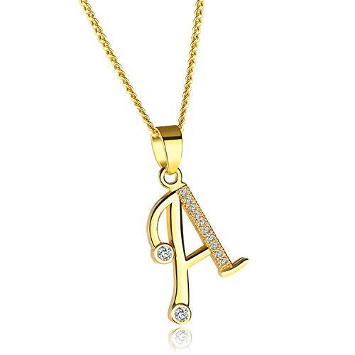 MUERDOU Letter Initial Necklace for Women Cubic Zirconia 26 Letters Alphabet Personalized Charm Tiny Pendant Necklaces