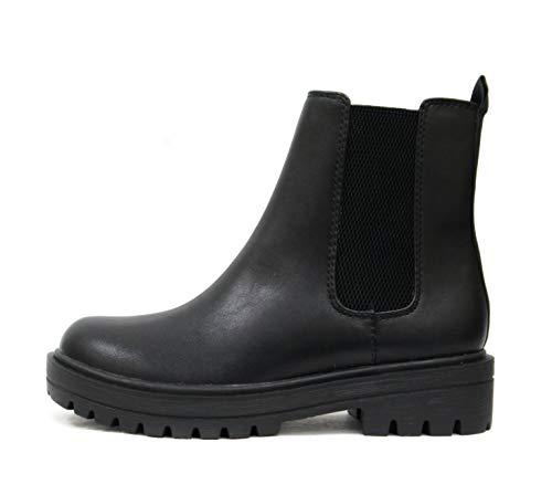 Soda Pilot ~ Women Lug Sole Low Heel Chelsea Fashion Ankle Bootie w/Double Elastic Gore (Black, numeric_7)