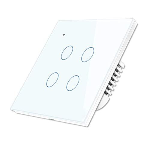 Gfhrisyty Interruptor de Panel de Prensa de Pared Inteligente WiFi, Compatible con Alexa y Assistant, No Requiere Concentrador (Interruptor de Pared de 4 Pandillas)