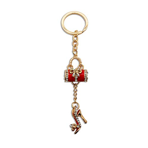 Hoge hak schoen en handtas kristal rode sleutelhanger charme sleutelhanger ring portemonnee strik handtas hanger tas sleutelhanger lady meisje vriendin cadeau