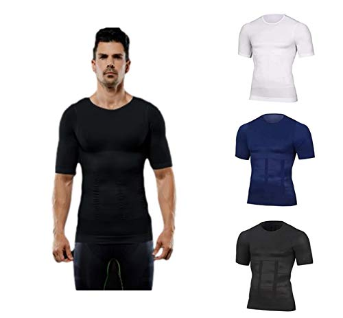 VNMG 2021 Men's Shaper Slimming Compression T-Shirt, Compression Sport Tops, Abs Abdomen Slim Body Shaper, Suitable for Sports and Fitness, Gym Workout (XL,Black)