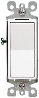 Leviton 5611-2WS 15A Decora Single Pole Illuminated Switch with Ground, 5-Pack, White