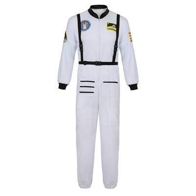 WSJDE Heren Astronaut Spaceman Kostuum Coverall Pilot Luchtmacht Vlucht Jumpsuit Halloween Dress Up Party Volwassen Cosplay Kostuums