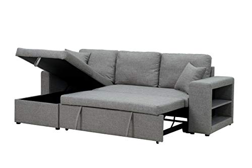 COODENKEY Sectional Sleeper Sofa with Storage and Pulled Out Bed, Include 2...