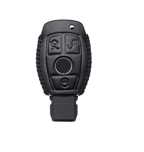 SDLWDQX Funda de piel auténtica para llave de coche, compatible con Mercedes Benz W203 W210 W211 W202 W204 W205 W212 W124, funda protectora para llavero con 3 botones, color negro