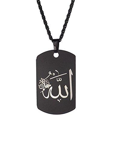 Gök-Türk Halskette Künye für Herren Unisex mit Anhänger Allah Islam Muslim - schwarz