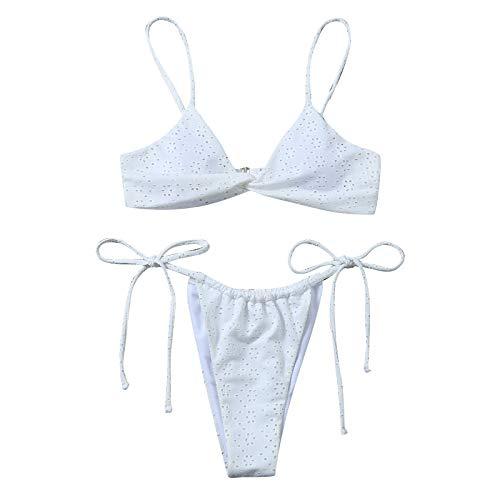 KAKIO Conjunto de bikini sexy de color sólido push-up acolchado con tiras para mujer