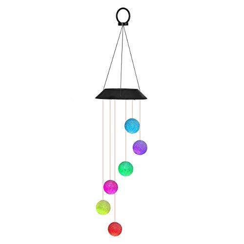 Mangsen - Lámpara solar con forma de campanilla de viento LED, lámpara solar para jardín, para patio trasero, caminos (bola redonda)