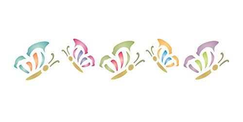 Schmetterling Schablone,–16,5x 3cm–wiederverwendbar Tier Insekt Bug Bordüre–Vorlage, auf Papier Projekte Scrapbook Tagebuch Wände Böden Stoff Möbel Glas Holz usw.