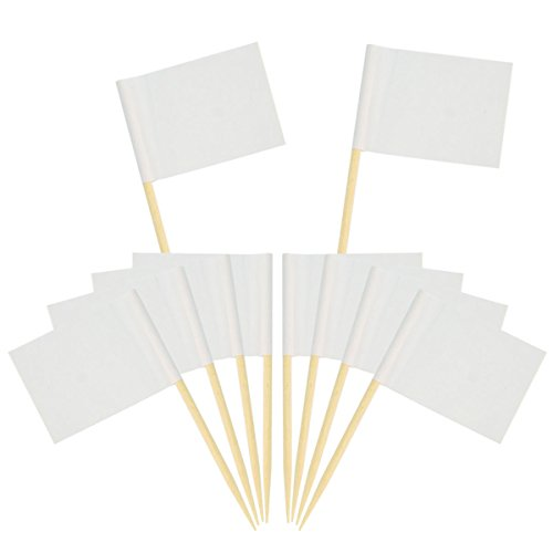 Wobe 200 Pack Blank Toothpick Flags, White Flags Labeling Marking Cake Toppers Shower Decoration Dinner Flags Cocktail Sticks for Cupcake Sandwiches Appetizers Cheese Markers