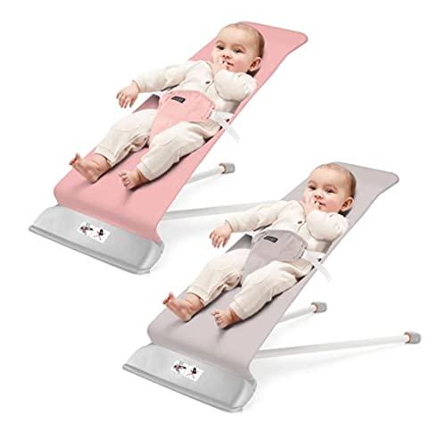 Hamaca Mecedora bebé con balanceo natural, ergonómica, algodón 100%, suave y antialérgico, 2 posiciones, arco de juguete con música y sonajero incluido (ROSA)