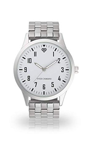 YVES CAMANI UNISSON Armbanduhr Analog Quarz weißes Zifferblatt Leder Mesh Edelstahl (Edelstahl - Silber)