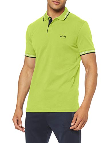 Photo of BOSS Men's Paul Curved Polo Shirt, Bright Green (325), L