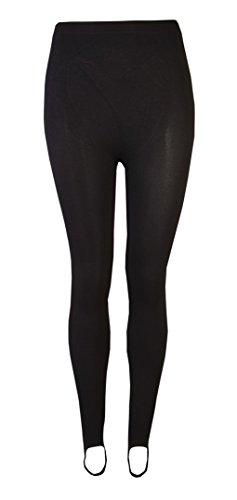 Love Lola® - Pantaloni da sci invernali da donna elasticizzati con staffe, colore: nero Black Small