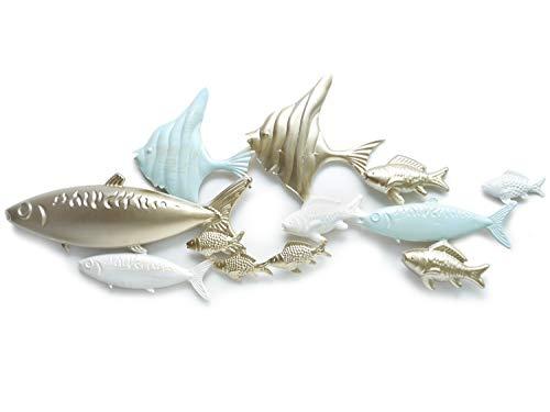 Werner Voss Wandobjekt Fische Wand-Skulptur Wandbild Gold blau - Fischschwarm aus Metall - 3D Wandschmuck 82 cm