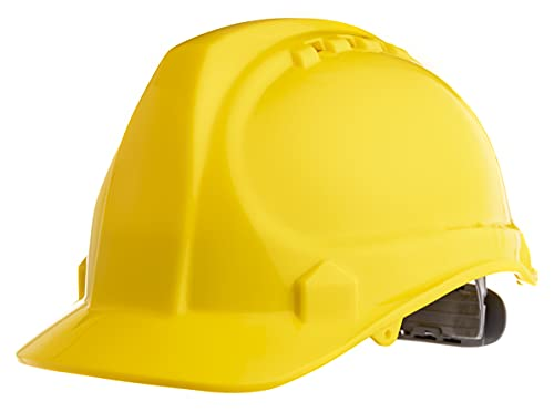 """Amston safety hard hat, head protection, """"keep cool"""" vented helmet, fully adjustable, low profile, cap style, type 1 class c, construction, ansi z89. 1, yellow"""