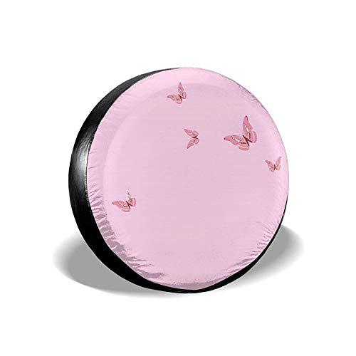 Pink Butterflies - Funda universal para neumáticos de repuesto, a prueba de agua, a prueba de polvo, protectores de neumáticos personalizados para Jeep, remolques, RV, SUV y camiones, 15 pulgadas