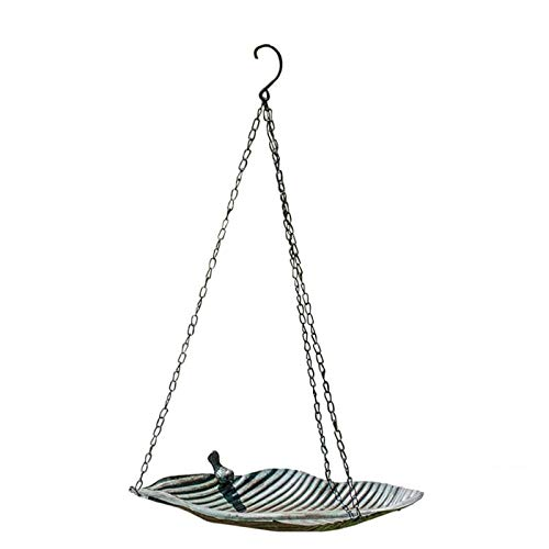letaowl Bird Feeding Bird Waterer Bird Feeder Leaf Shaped Shelf Hanging Iron Tray Garden Decoration Outdoor Indoor Pet Feeding Tools Bird accessories (Color : As show, Size : L)