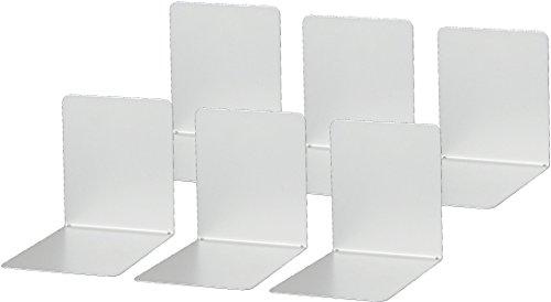 Maul 3506290 Buchstützen aus Metall, 2 Stück, 14x12x14 cm, Schwarz (silber | 3er Pack)