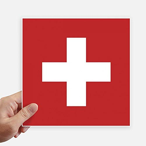 DIYthinker Drapeau National Suisse Europe Country Square Autocollants 20CM Mur Valise pour Ordinateur Portable Motobike Decal 4Pcs 20Cm X 20Cm Multicolor