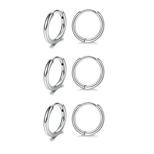 Silver Hoops Earrings for Women, 925 Sterling Silver Post Small Hoop Earrings, 3 Pairs Hypoallergenic Small Cartilage Sleepers Huggie Hinged Cuff Earrings for Men Gifts(8mm *3)