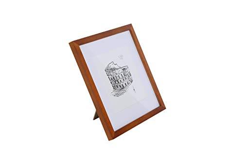 Classic by Casa Chic - Quadratischer Bilderrahmen - rustikales Braun - 30x30 cm - mit bruchfestem Sicherheitsglas - mit Passepartout für 20 x 20 cm Foto - Rahmenbreite 2cm