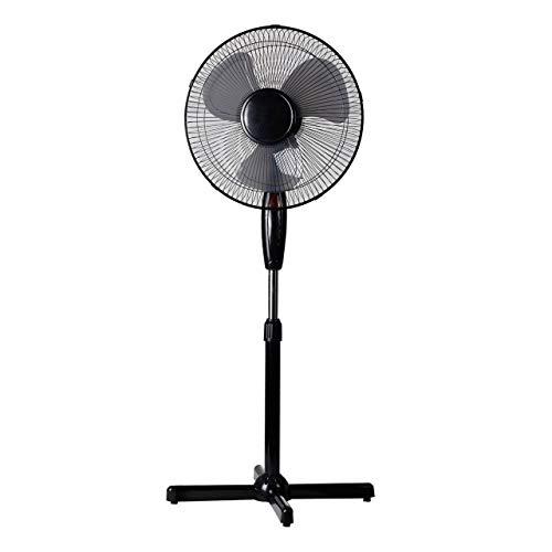 Lex Standventilator Ø 40cm 40 Watt weiß Höhenverstellbar bis 130cm ✓ 180° Oszillierend ✓ Nachtlicht | Großer Standlüfter Ventilator Bodenventilator Windmaschine Leiser Betrieb, Farbe:Schwarz