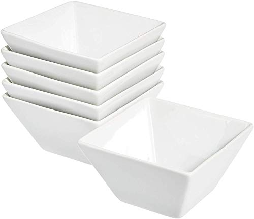 Danxia Snack Porcelain Square Serving Bowl 10 Ounce - 4.5 Inch - Set of 6, White