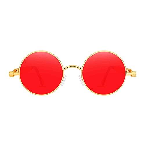 SM SunniMix Gafas de sol de círculo Steampunk Retro góticas de moda para mujeres y hombres montura de Metal de lente redonda, protección UV - Gold Red