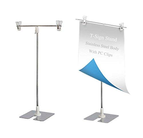 T-Sign Adjustable Poster Stand Small Size Desktop Stainless Steel Advertising Dack Display Banner Stand Holder Store Counter Display with Clip for Display Show