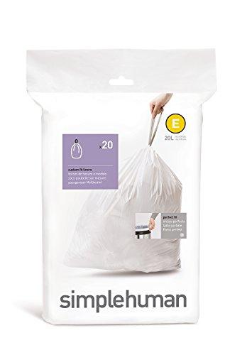 simplehuman Code E Custom Fit Drawstring Trash Bags, 20 Pack, White