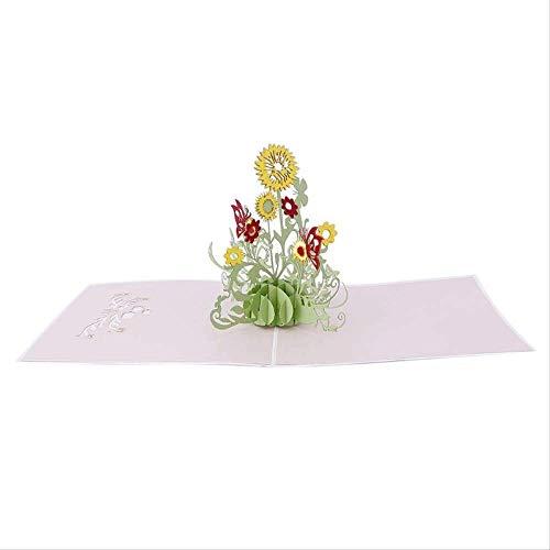 Tarjeta Regalo BLTLYX 3d Pop Up Flor De Girasol Tarjeta De Felicitación Cumpleaños De Navidad Año Nuevo Invitación 15 * 15cm Como se muestra