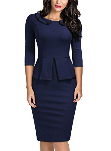 Miusol Women's Vintage 2/3 Sleeve Slim Style Evening Party Pencil Dress,Medium,A-Navy Blue