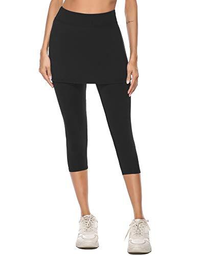 iClosam Pantalones de Falda de Tenis y Golf para Mujer Falda Deportivo con Bolsillos Tela Elástica(XL,Negro)
