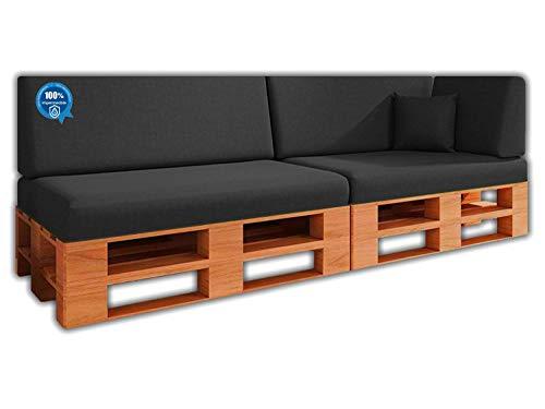 Pack Ahorro Conjunto 6 Cojines para Sofa de palets / europalet 2 Asientos + 2 Respaldos + Rinconera + Cojin   Desenfundable   Interior y Exterior   Color Gris Nautico   100% Impermeable
