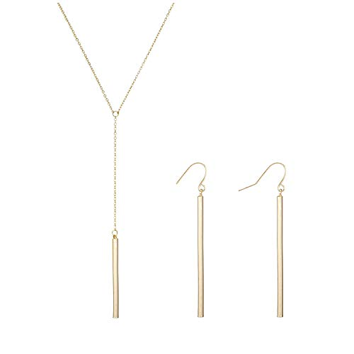 2Pcs Y Pendant Necklace Bar Earring Set Lariat Necklace Long Stick Drop Dangle Earring for Women (Gold Y Shape Set)