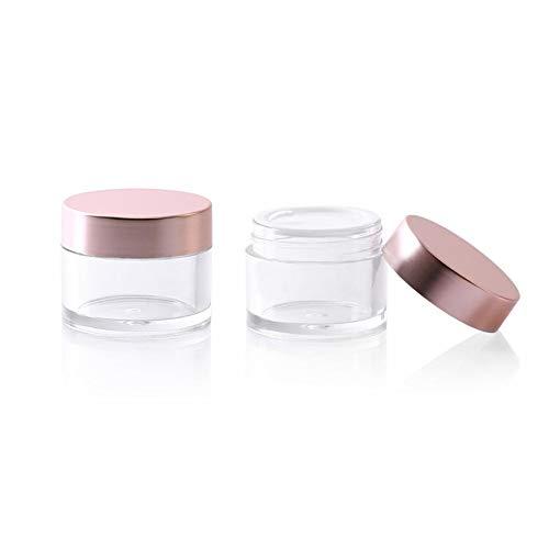 XUMIN 2pcs 15ml / 0.5oz vides PETG Crème en plastique rechargeable pots bouteilles petites boîtes cosmétique contenant avec couvercle rose couvercle intérieur pour pommades crème pour les yeux