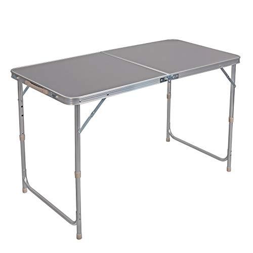WOLTU® Campingtisch Klapptisch Gartentisch Arbeitstisch Balkontisch höhenverstellbar Aluminium MDF Grau CPT8122gr