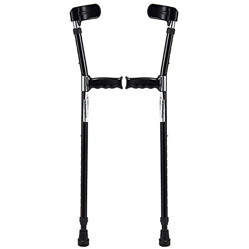 YXW Muletas ortopédicas de Aluminio para antebrazo para Adultos (2 Unidades, puño anatómico), muletas de Codo Ajustables, ergonomicas empuñadura, rodamiento de 100 kg, Negro