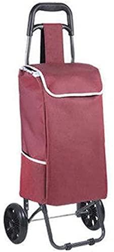 Carrito de Compras Plegable en 2 Ruedas, con Ruedas giratorias rodantes y Bolsa de Lona Impermeable extraíble, para la utilitaria de comestibles Escalera Ligera de Escalera de Escalera (Color : D)